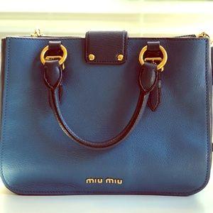 Authentic MIU MIU Blue Pebbled Leather Madras